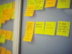 Post it notes on a wall